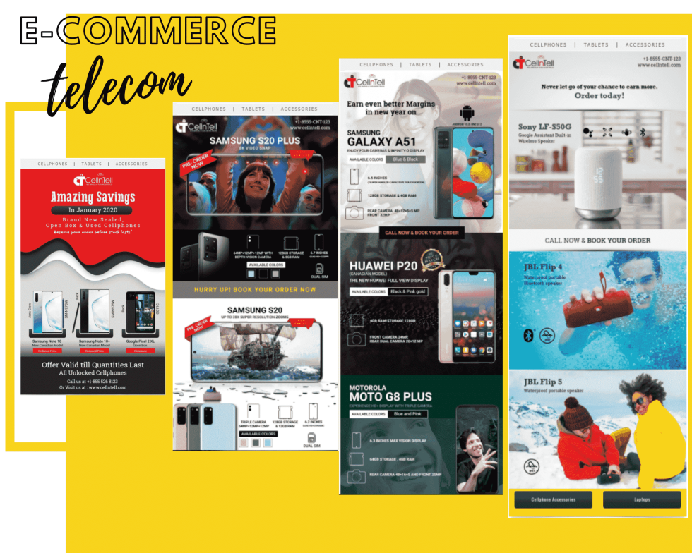 """Image of multiple webpages with text """"E-commerce telecom"""""""