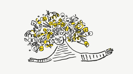 Illustration of a person with flowers in their hair