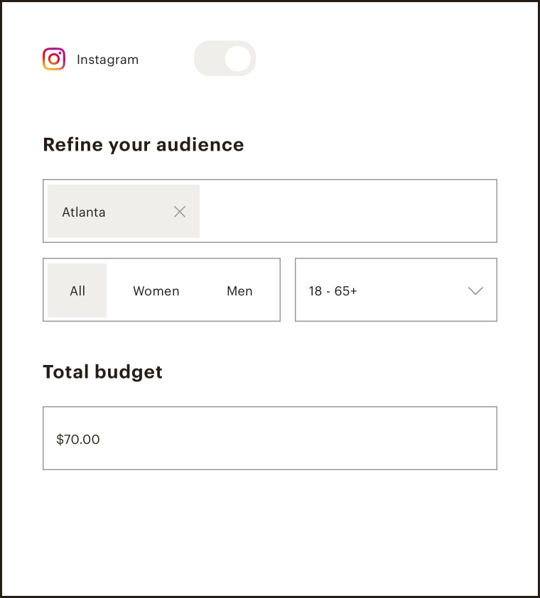 Audience and budget section of the Instagram ad builder
