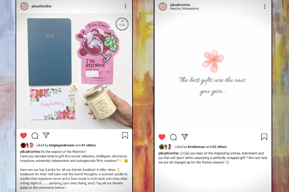 Two side by side screenshots of Instagram posts for brand. Left screenshot post shows off products like notebook, face mask, card, and hand holding a jar from aerial point of view. Right screenshot of post featuring white background and simple drawn pink flower with cursive text underneath.