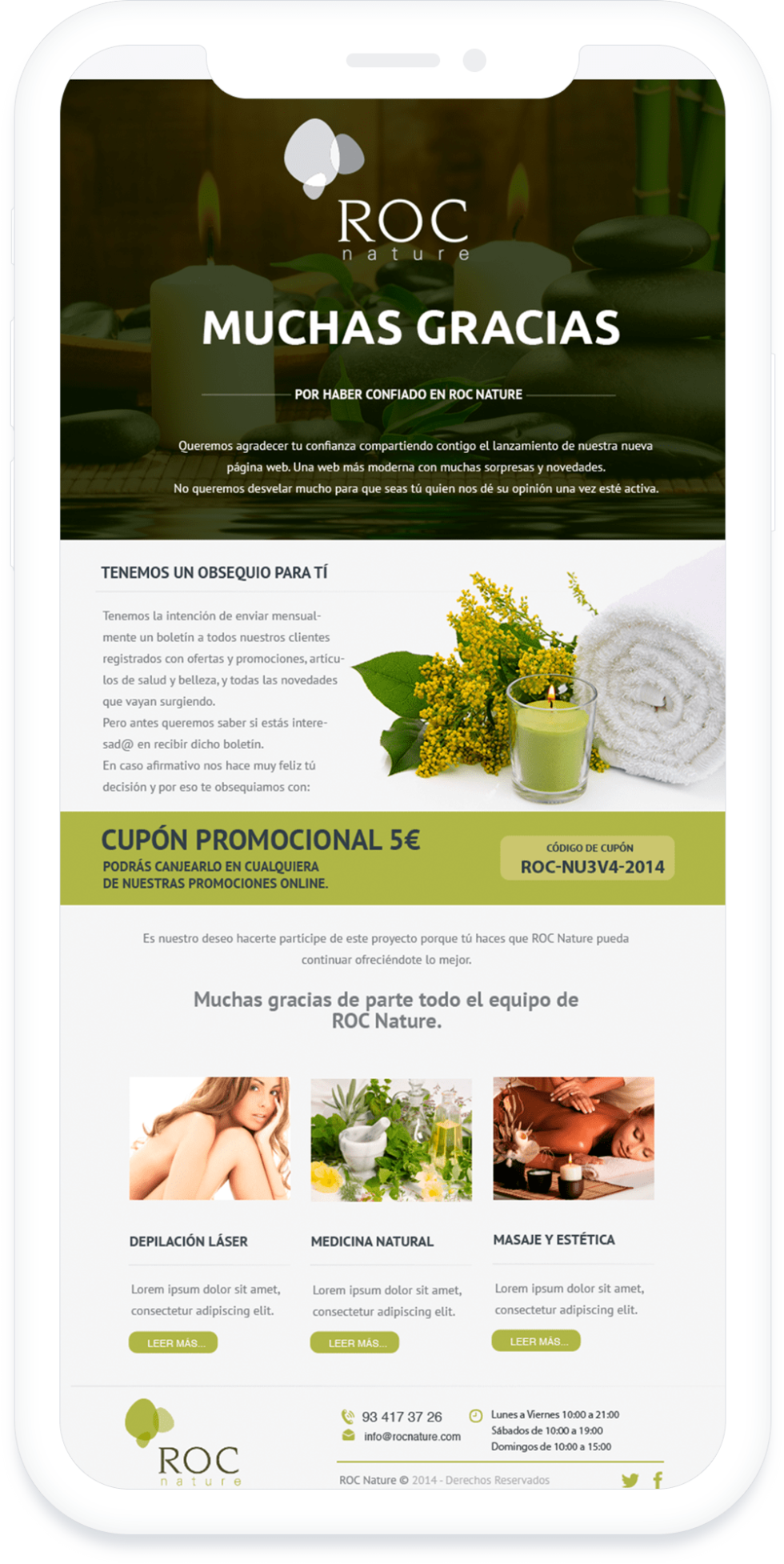 Image of ROC Nature website with the text Muchas Gracias