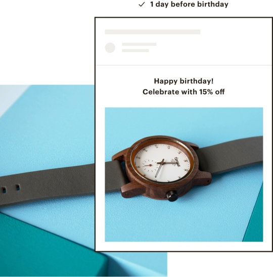 An email wishing a customer happy birthday with a discount.