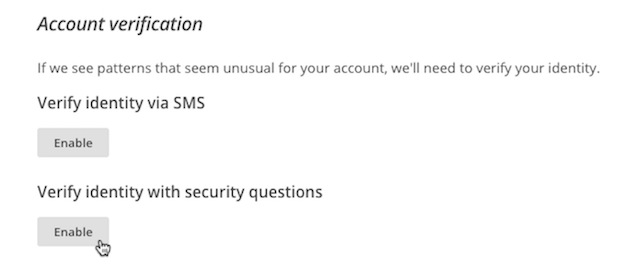 Cursor clicks Enable from Verify identity with security questions section.