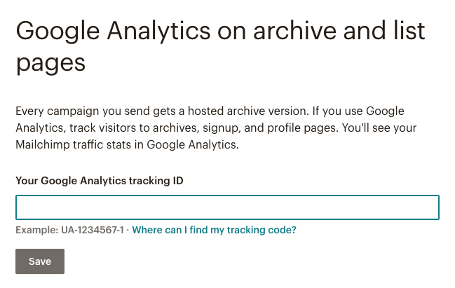 Enter Google Analytics Tracking ID