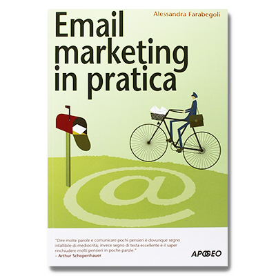 Image of a post person riding a bike with the text Email marketing in pratica
