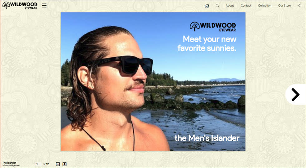 Image of an add with a person wearing sunglasses and the text wildwood eyewear. meet your new favorite sunnies. the men's islander.