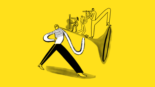 Illustration of a man blowing a trumpet