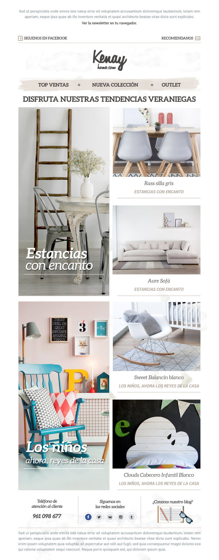 Image of an email newsletter for a home furnishing store