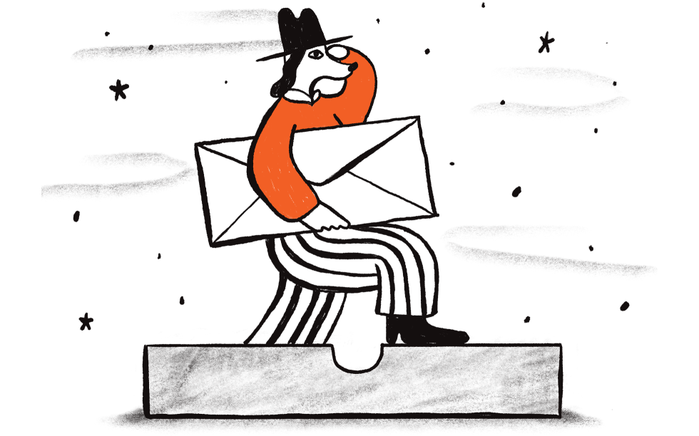 Illustration of a dog carrying an envelope