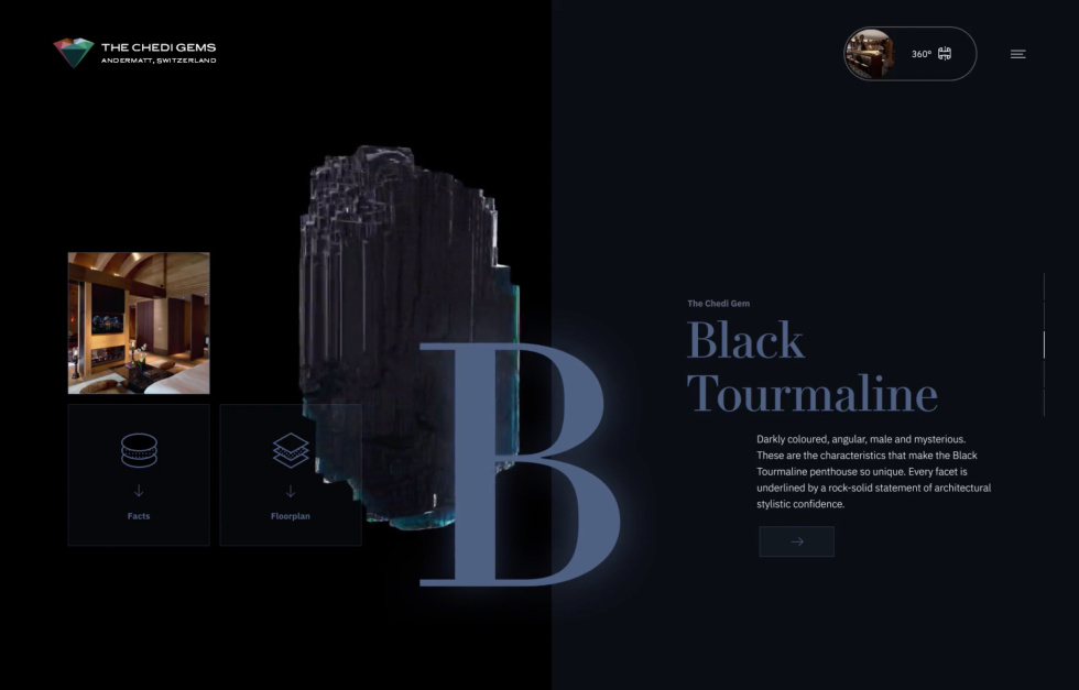 Example of website design for gem shop. Dark color scheme and images of product