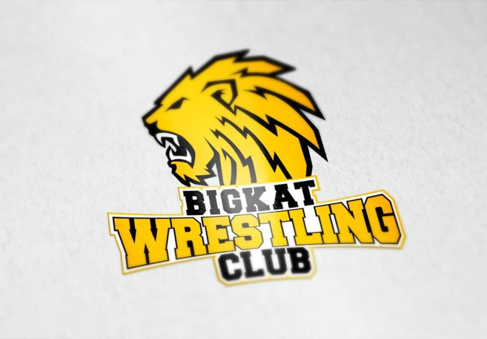 Logo design for a wrestling club. Head of a yellow, menacing lion facing to the left with text protruding from bottom of its mane below. The text is the name of the wrestling club in varsity letterman jacket blocky font. Text is split into three separate lines. Top line is in black, middle is in yellow, and bottom text is in black.