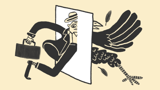 Illustration of businessman transforming into bird through a wall