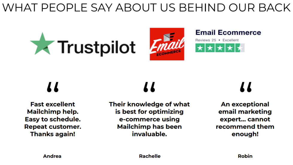 Screenshot of testimonials from Email Ecommerce customers.