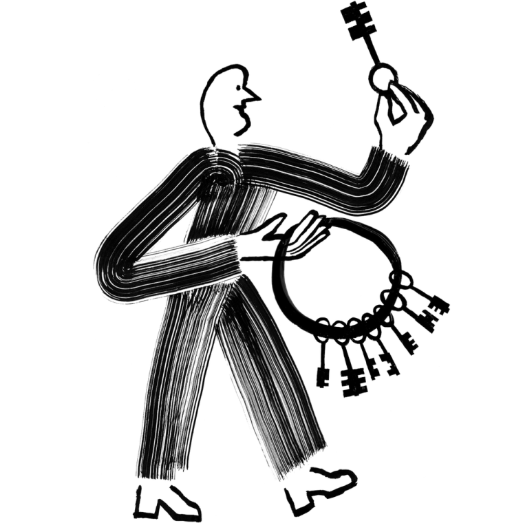 Illustration of a person holding a key and keyring