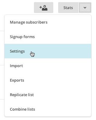 Select Settings from list drop-down menu