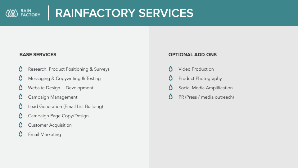 Image of Rainfactory base services and optional add-ons