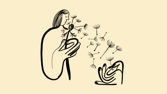 Illustration of woman blowing the petals off a dandelion