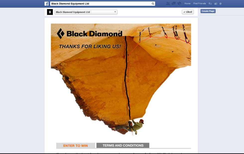 Image of Black Diamond Equipment's Facebook page