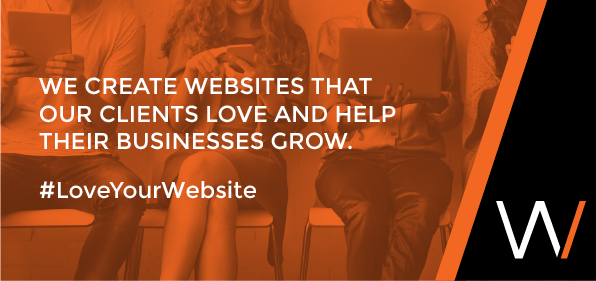 Image of people sitting in chairs with the text We create websites that our clients love and help their businesses grow #loveyourwebsite