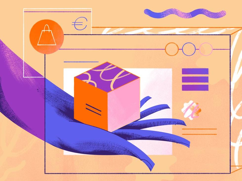 Painted image of a hand holding a box, representing an e-commerce store.