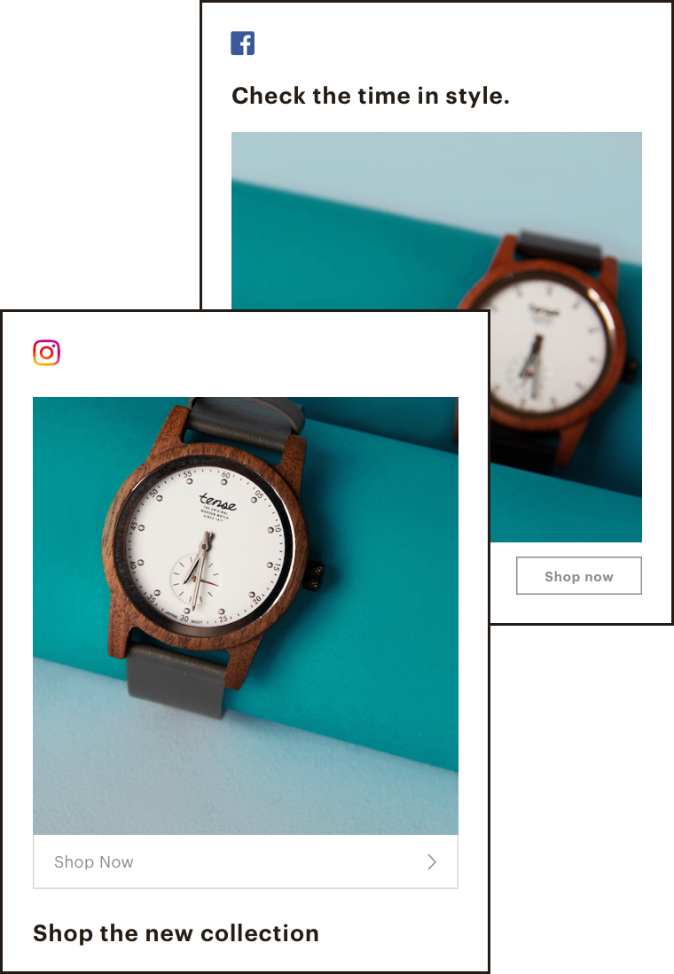 Illustration of an instagram ad and a facebook ad.