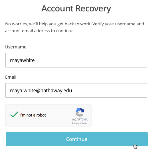 Account recovery screen, enter username and current account email.
