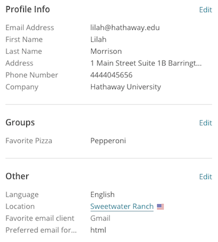 Example of list field data on a contact profile.
