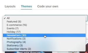 on the themes tab, click the dropdown menu and choose a category