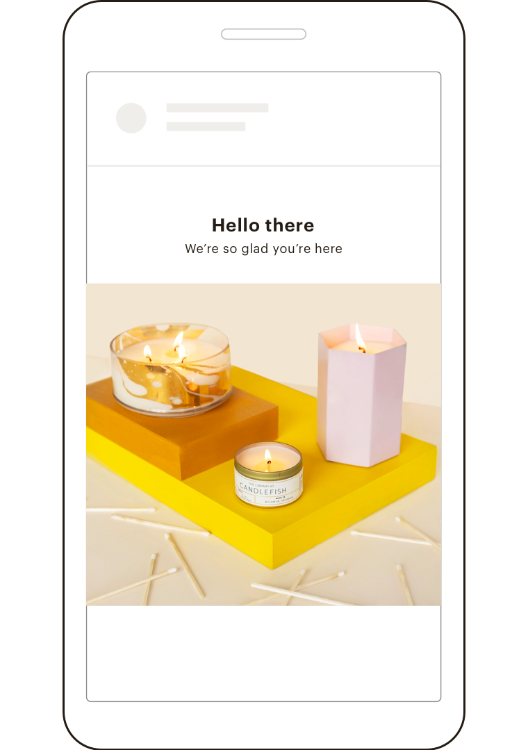 UI of a welcome email on a phone