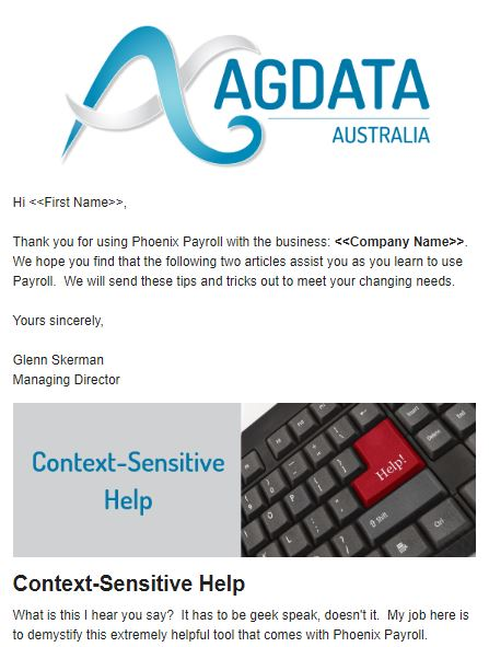 Example of email newsletter featuring logo, image header, title, and supporting text against white background