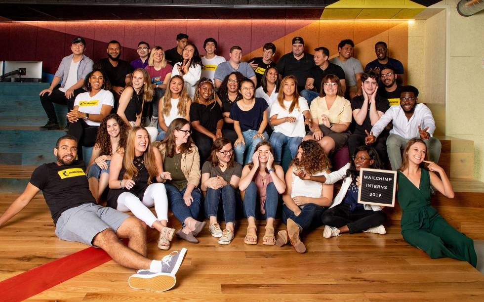 Mailchimp's 2019 summer interns pose for a funny picture.
