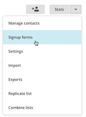 List drop-down menu, signup forms