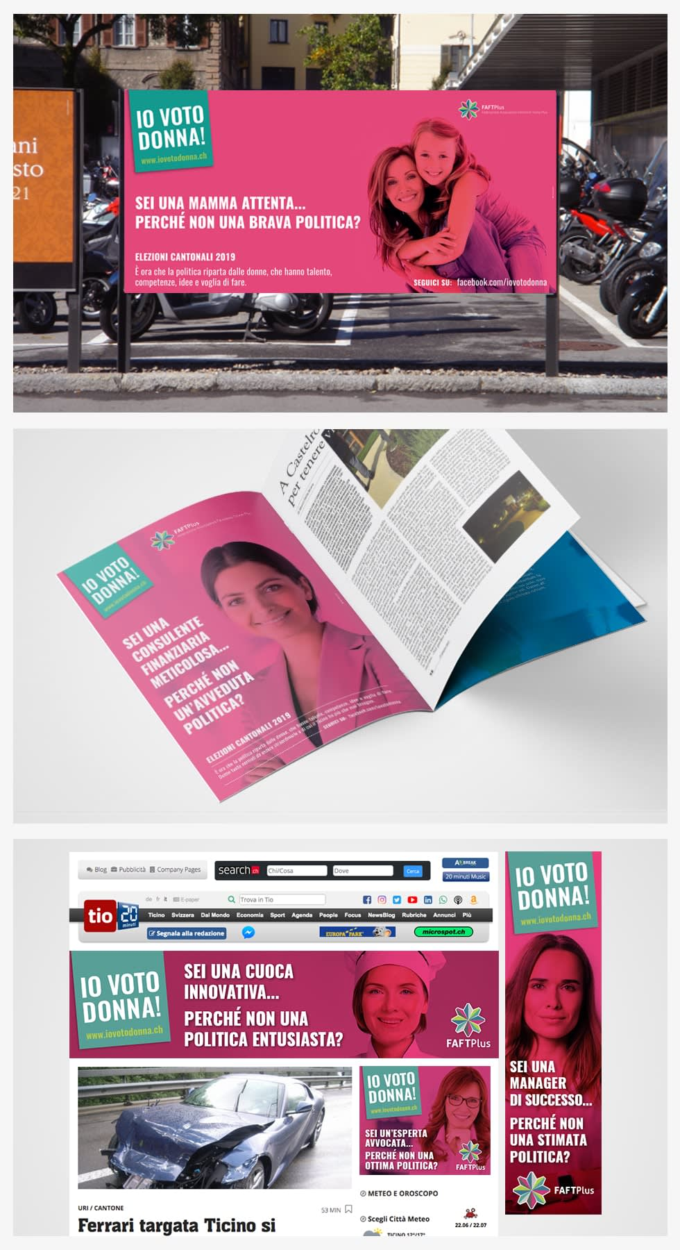 """Image of a billboard, magazine, and webpage with text """"Io Voto Donna!"""""""