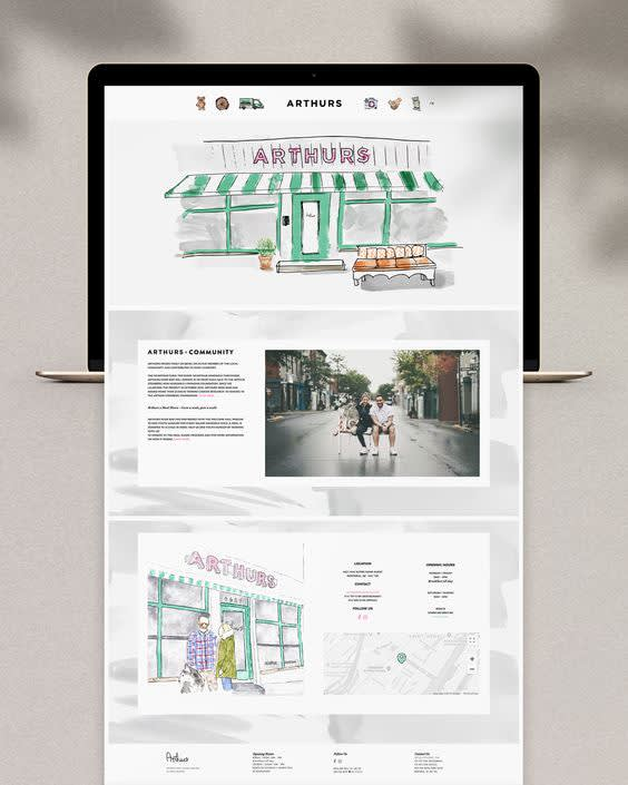 Image of apple Macbook laptop opened to website homepage. Website unfolds below out of the laptop to show what it would look like if you began scrolling down on the website homepage. The unfolded website is in a rectangular shape with three distinct parts. Top part includes illustration of store with ecommerce links at the top. Below is an image of two people in a street sitting at a bench with accompanying supportive text to its left. Below this is a split image of the illustrated store and contact information on the right above a map of the store's location.