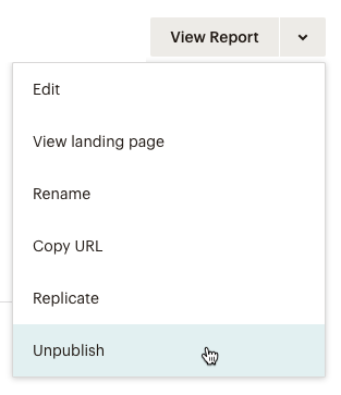 Drop-down menu for a landing page with cursor on Unpublish option.