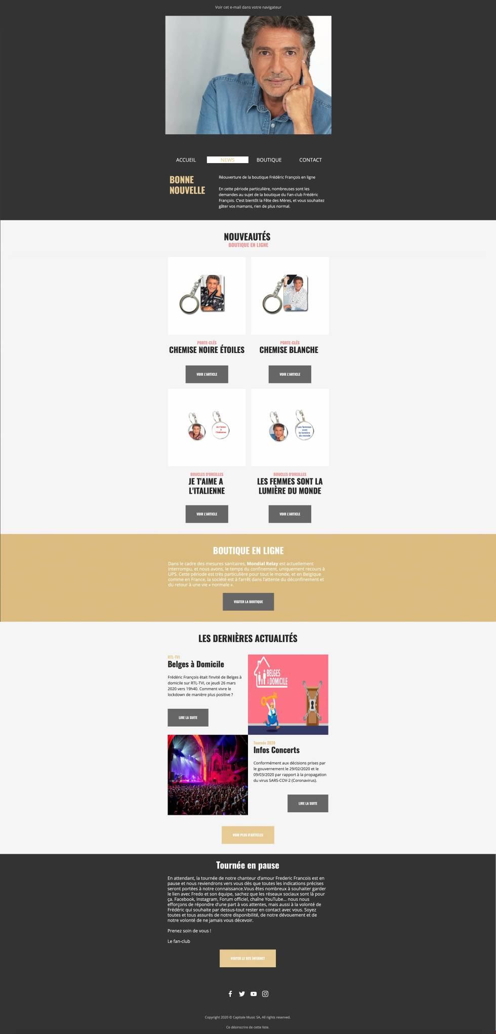 Image of newsletter with items to purchase.