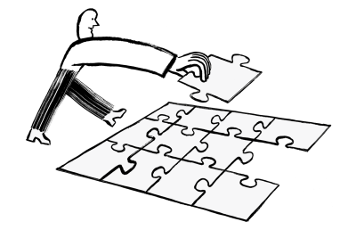 Person completing puzzle.