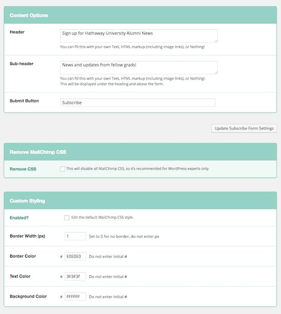 image: a screenshot of wordpress form settings