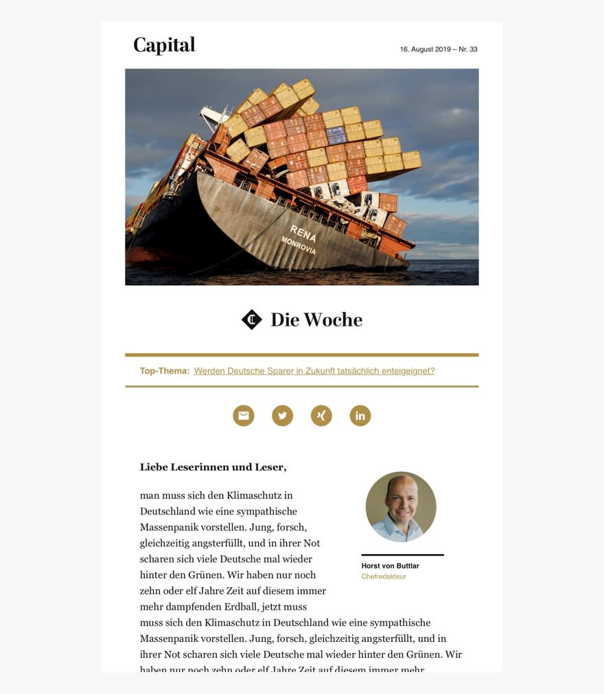 Screenshot of an article featuring image header of a capsizing cargo ship.