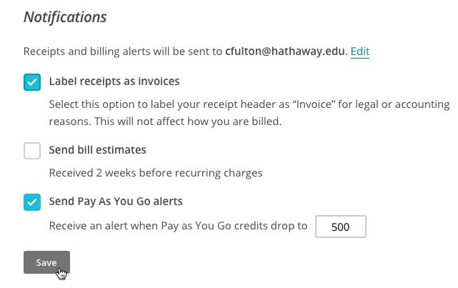 Change Your Account Billing Settings - Send invoice after payment received