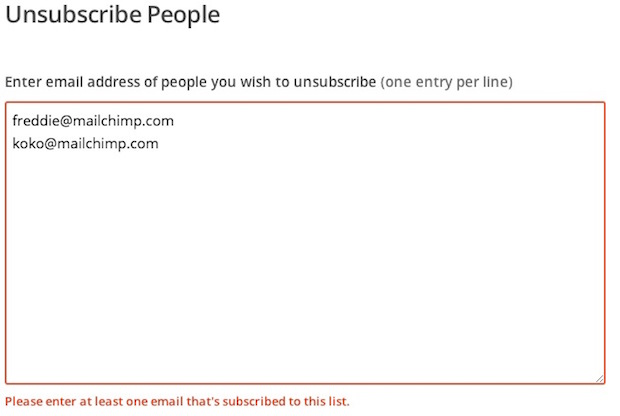 Please enter at least one email that's subscribed to this list