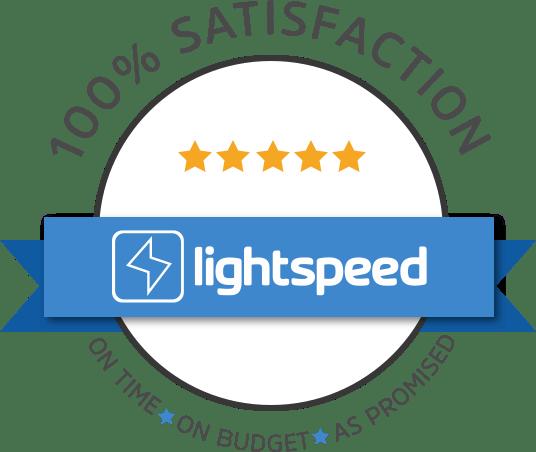 Image of Lightspeed badge that says 100% satisfaction
