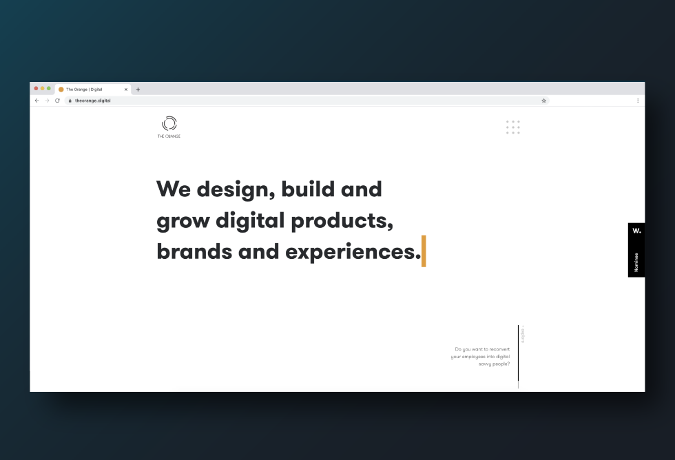 "Image of a webpage that says ""We design, build and grow digital products, brands and experiences."""