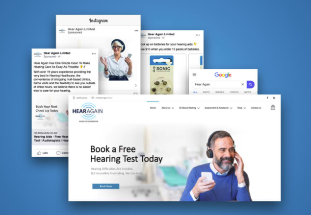"Image of a website with a man on the phone that says ""Book a free hearing test today."""