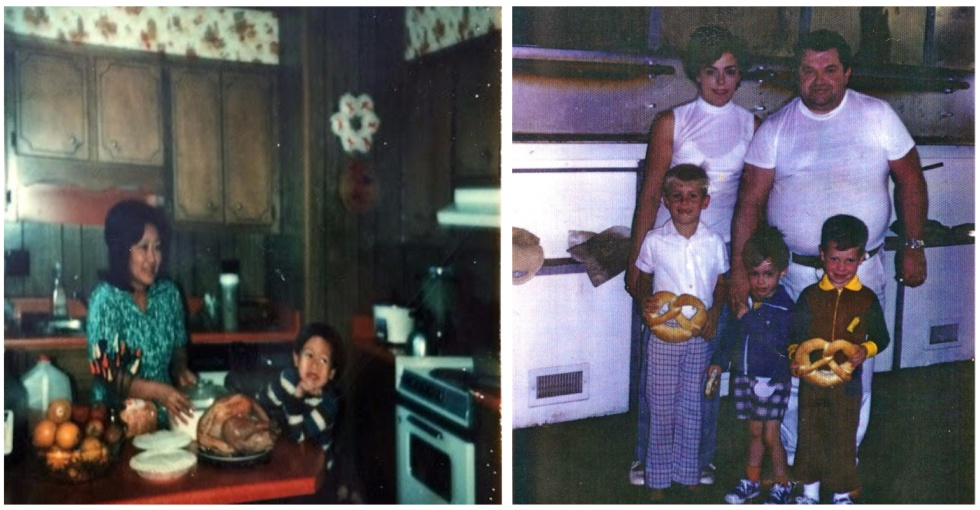 Photos of young Ben with his mother and young Dan with his family
