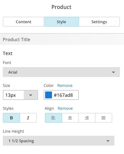 Screenshot of Style tab.