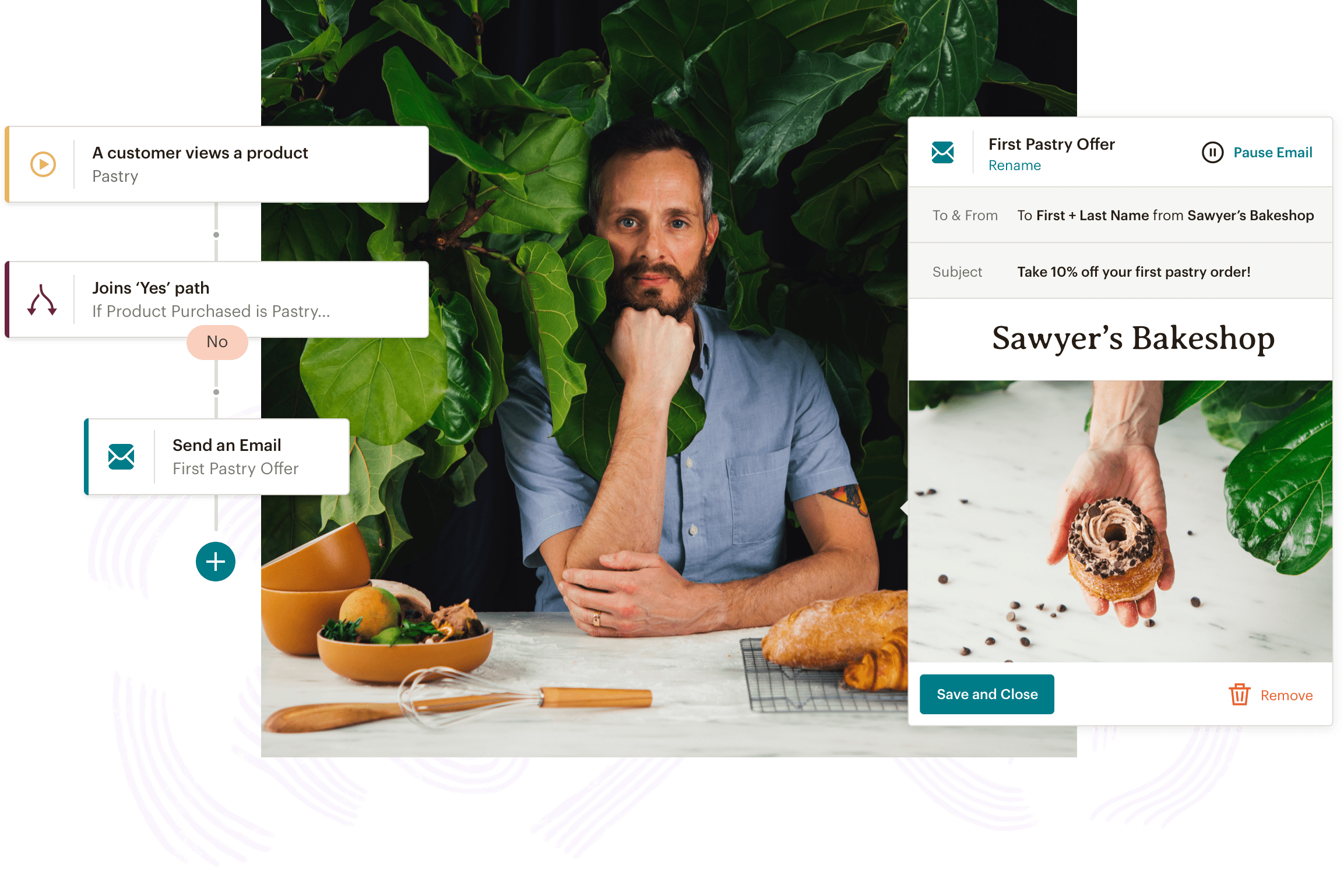 An example of Mailchimp's Customer Journey Builder and Email tools