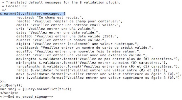 Message de validation par défaut
