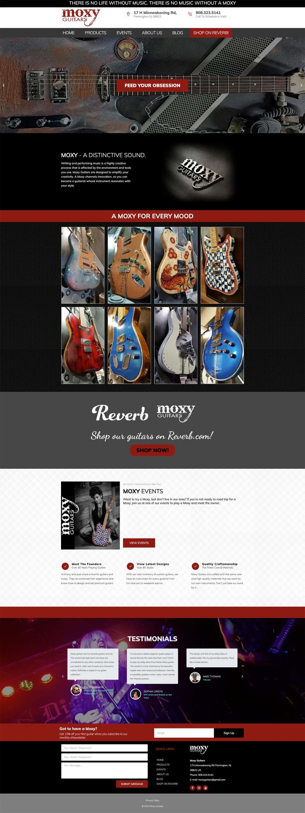 Custom website design for guitar store