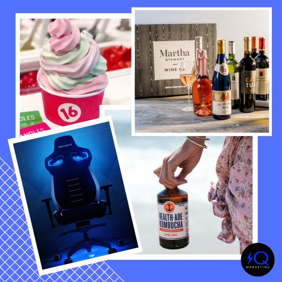 Images of a cup of frozen yogurt, collection of wine bottles, kombucha, and a gaming chair in a collage style.